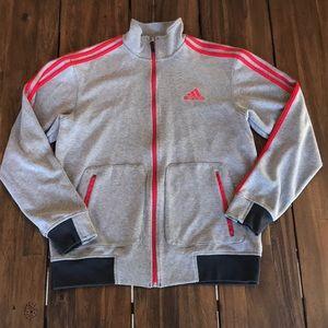 Men Adidas Zip Up Sweatshirt M Grey Red Stripe